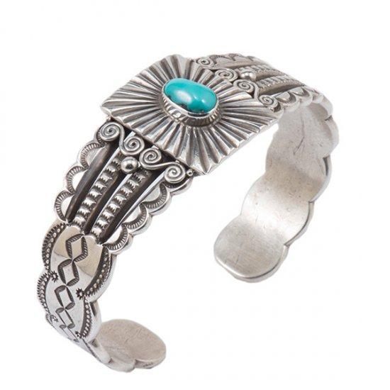 Perry Shorty Ingot Silver and Turquoise Cuff