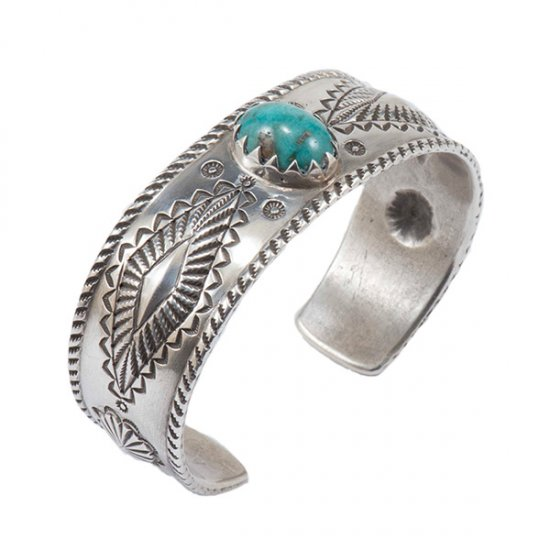 Perry Shorty Coin Silver Cuff with Turquoise