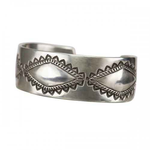 Perry Shorty Coin Silver Cuff with Repousse