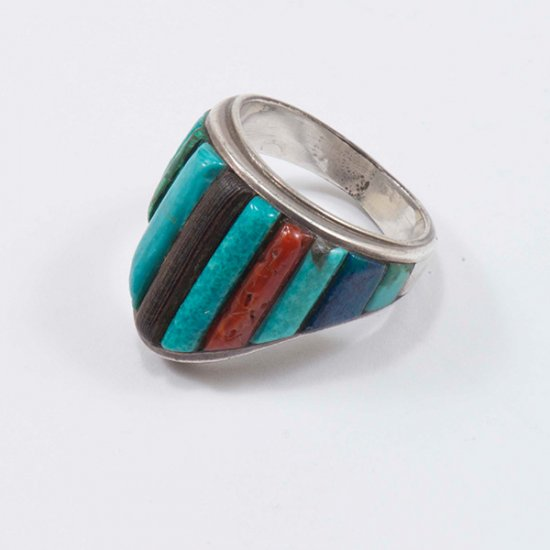 Chales Loloma Silver Ring with Signature Inlay of Turquoise, Iron Wood, Lapis and Coral.