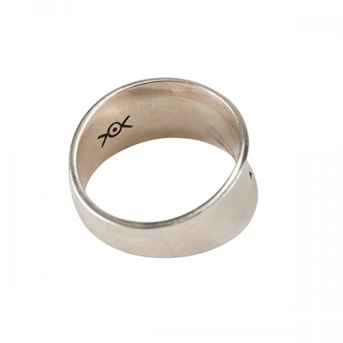 Norbert Peshlaki Silver Stamp Ring with Curved Borders