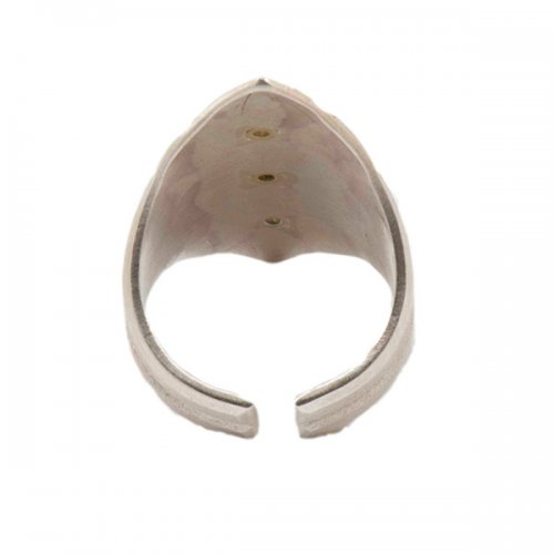 Maria Samora Sterling Silver Ring with Geometric Designs and Diamonds