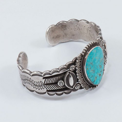 Perry Shorty Ingot Silver Cuff with Natural Turquoise Cabochon