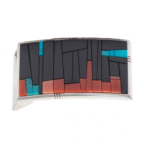 Richard Chavez Desert Horizon Belt Buckle with Black Jade, Turquoise and Coral Inlay
