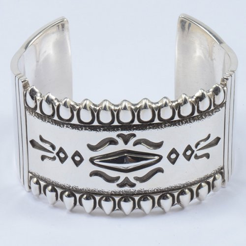 Jennifer Curtis Heavy Weight Sterling Silver Cuff with Hand Stamped Designs