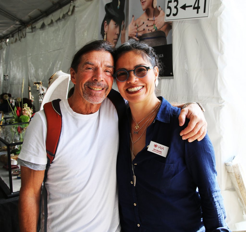 John Krena and Keri Ataumbi at her booth for The Heard Museum Indian Art Fair