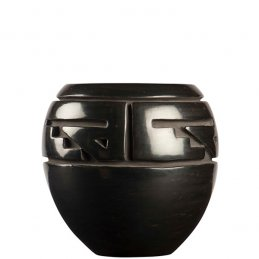 Margret Tafoya Carved Blackware Pot with Repetitive Design