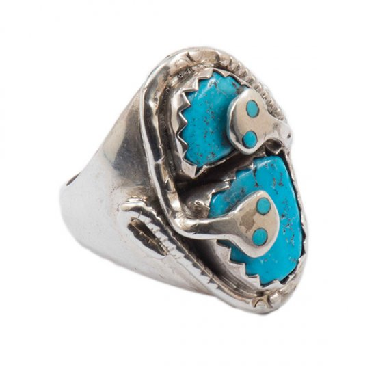 Effie Calavaza Sterling Silver Double Snake Ring with Natural Turquoise