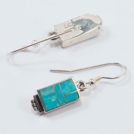 Supersmith Sterling Silver Rectangle Earrings with Natural Turquoise Inlay