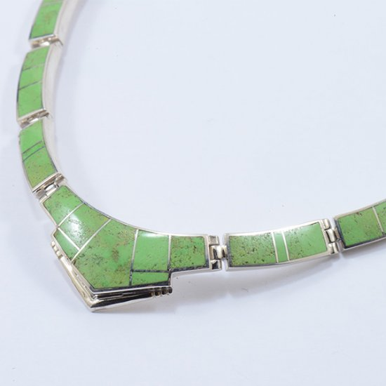 Supersmith Sterling Silver Linked Necklace with Contemporary Gaspeite Inlay