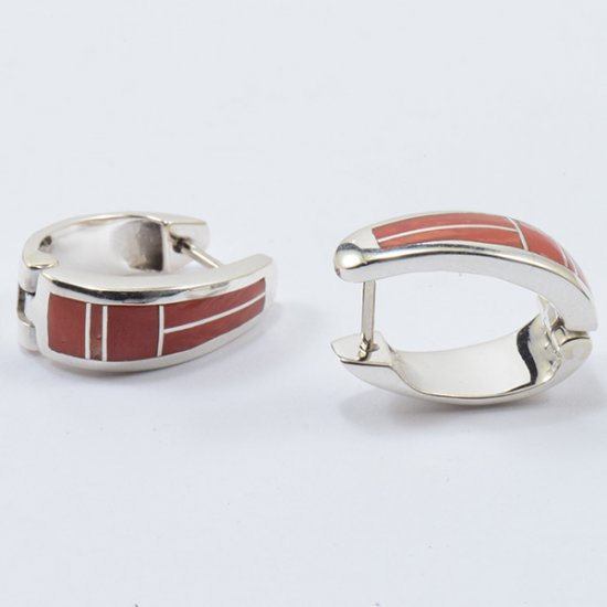 Supersmith Sterling Silver Continuous Hoop Earrings with Coral Inlay