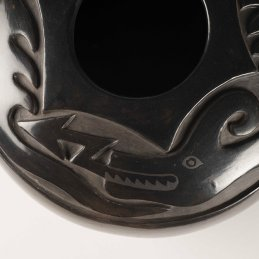 Margaret Tafoya Large Carved Blackware Jar with Avanyu Design