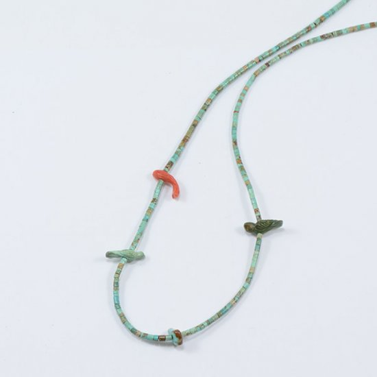 Understated Single Strand Fetish Necklace with Natural Turquoise Heishi Beads