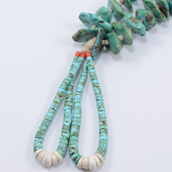 Vintage Santa Domingo Pueblo Natural Turquoise Nugget Necklace with Jocklas