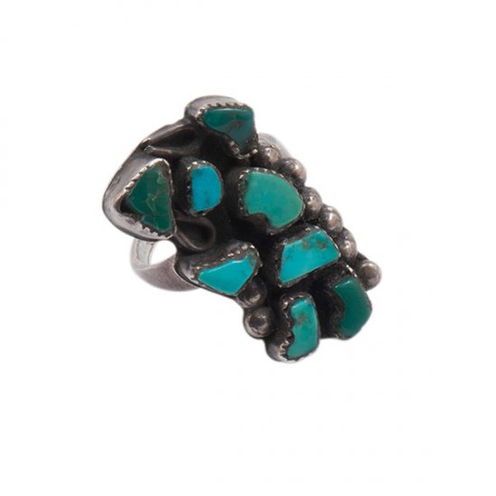 Vintage Zuni Silver Ring with Natural Turquoise Rainbow Man Inlay