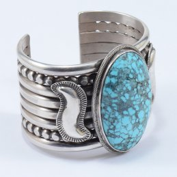 Mike Bird-Romero Sterling Silver Wide Cuff with Persian Turquoise Cabochon
