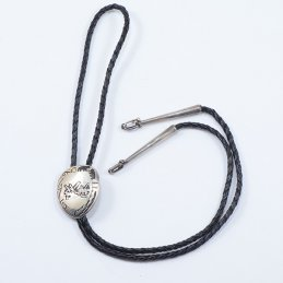 Vidal Aragon Sterling Silver Overlay Bolo Tie on Braided Leather with Unique Tapered Tips