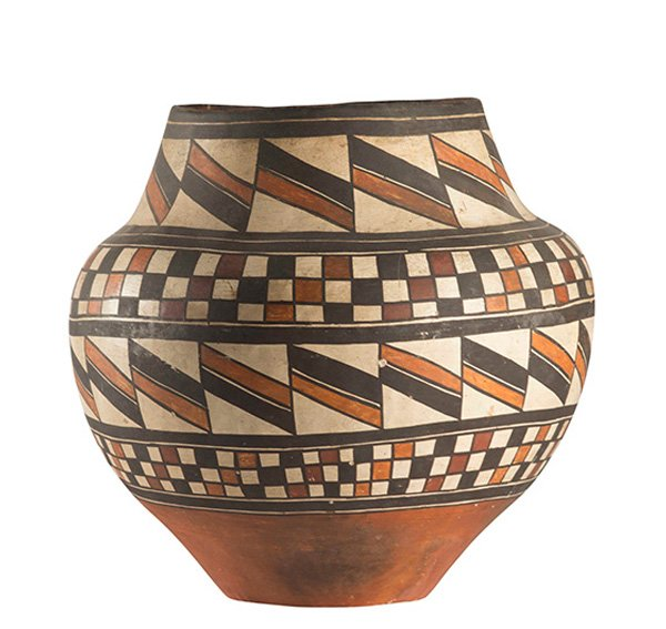 Historic Acoma Pueblo Polychrome Jar with Geometric Designs, ca. 1890
