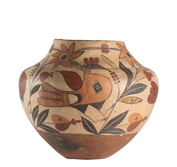 Acoma Pueblo Rare Five Color Polychrome Bird and Floral Jar, ca. 1880