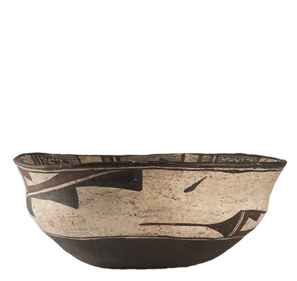 Zuni Polychrome Dough Bowl with Exterior and Interior Painted Geometric Designs, ca. 1920's