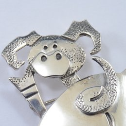 Darryl Jumbo Sterling Silver Backside Pig Pin with Detailed Silverwork