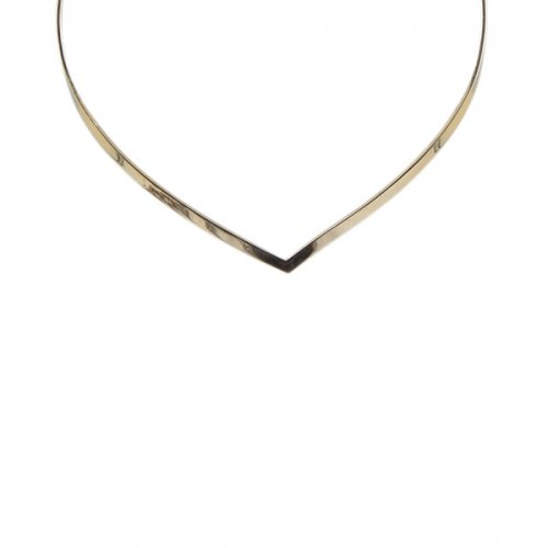 Hand Hammered 18k Gold Choker Necklace with Drop Design