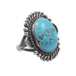 Vintage Navajo Silver Ring with Natural Turquoise Stone Framed with Applique